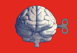 Monochrome blue vintage engraved drawing human brain with wind up key in front view point vector illustration isolated on red background retro style