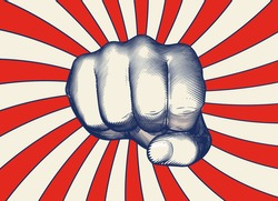 Monochrome blue vintage engraved drawing human hand fist punching gesture vector illustration isolated red shining sun Japanese retro style background