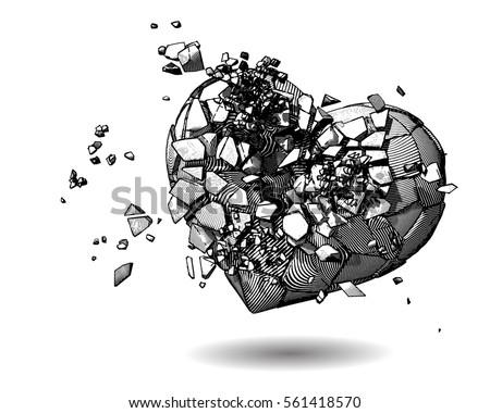 monochrome broken heart with