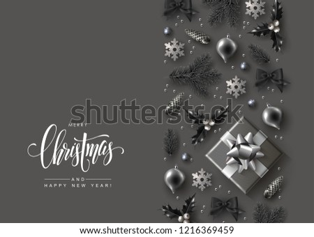 Monochrome Christmas Greeting Card with Vertical Border made of Festive Elements and Calligraphic Inscription