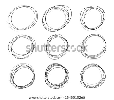 Monochrome circles, square, sketch, selection. Hand-drawn, scribbled. Design elements isolated on a light background.
