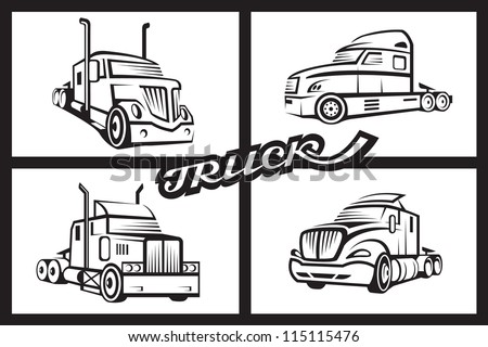 monochrome collection of four trucks - stock vector