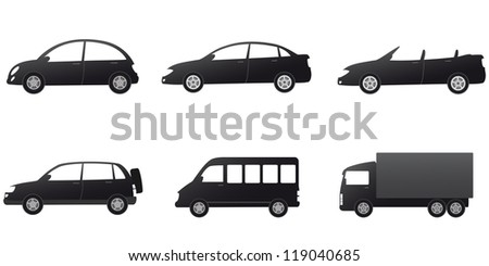 monochrome collection of isolated car silhouette on white background
