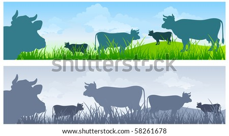 Monochrome cow silhouettes on green grass pasture over blue sky