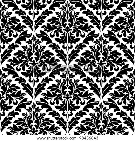 Monochrome damask seamless pattern for background design. Jpeg version also available in gallery