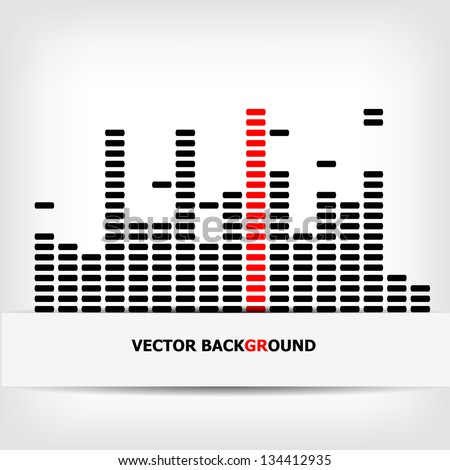 Monochrome digital equalizer background with red strip - vector illustration