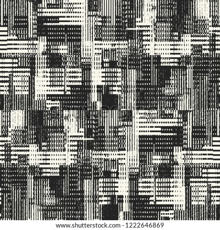 Monochrome Discrete Graphic Motif Brushed Textured Distressed Background. Seamless Pattern.