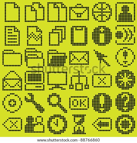 monochrome dot-based icon big set for control screens and web design. more icons are available