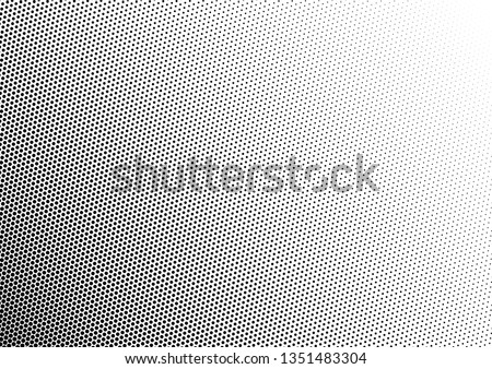 Monochrome Dots Background. Fade Texture. Vintage Pop-art Backdrop. Grunge Black and White Overlay. Vector illustration