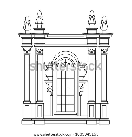 Monochrome drawing, architectur sketch in black outline on white background