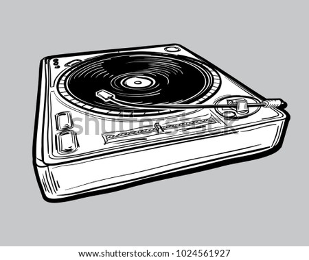 monochrome drawn turntable