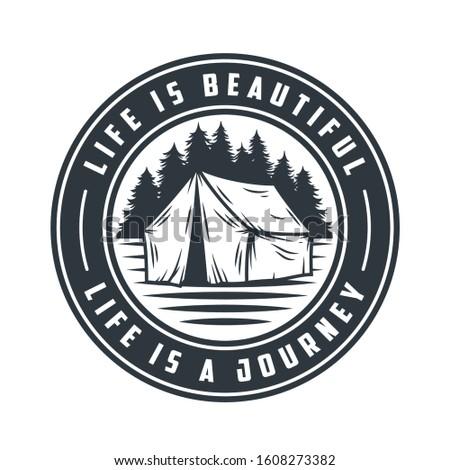 monochrome emblem tent and