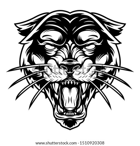 Monochrome ferocious panther head in vintage style isolated vector illustration Stock photo ©
