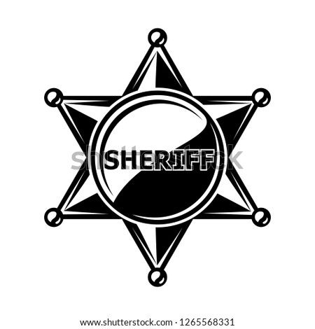 Monochrome flat icon, sheriff star, cowboy badge. Simple shape for graphic design of logo, emblem, symbol, sign, label, stamp, isolated on white background.