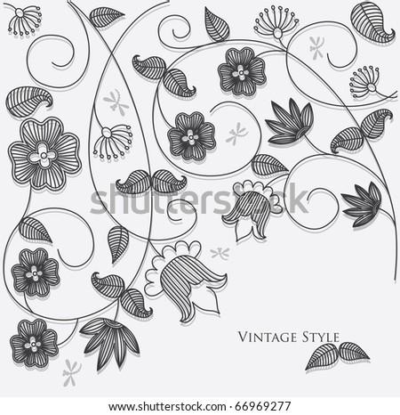 monochrome floral background. vector illustration