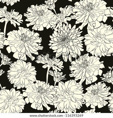 Monochrome floral pattern, wallpaper,backgroun d, hand-drawn flowers - stock vector
