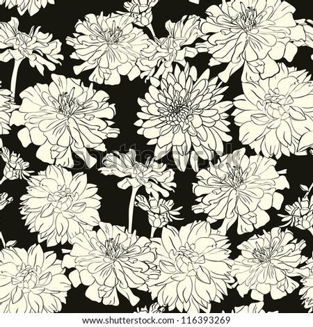 Monochrome floral pattern, wallpaper,background, hand-drawn flowers