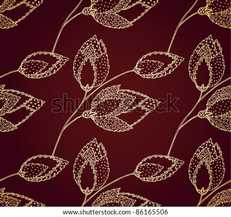 Monochrome floral seamless pattern. Fantasy flower
