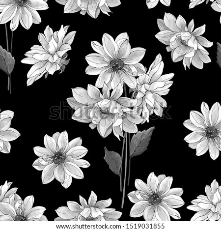 Monochrome floral seamless pattern with dahlias. Black and white flowers on black background. For textile, wallpapers, print, greeting, web pages. Monochrome. Vintage style. Vector.