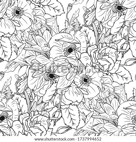monochrome floral seamless