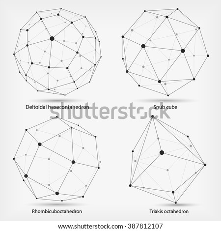 Monochrome  framework of connected lines and dots. Complex geometric shapes. Vector illustration.