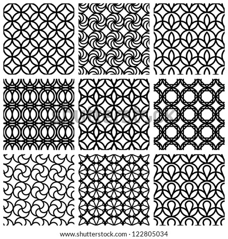 Monochrome geometric seamless patterns set, vector backgrounds collection.