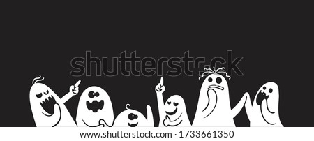 Monochrome ghost apparition spook horror set. Cartoon character cute ghost group different styles and gestures. Shadow funny.  ghost sheet for halloween character design. Isolated vector illustration.