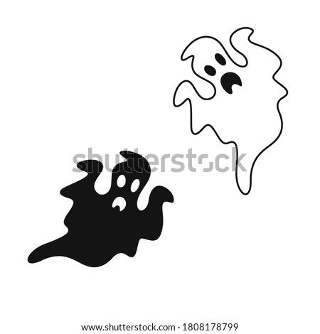 Monochrome ghost. Simple flat ghosts. Vector illustration. Halloween scary ghostly monsters. Ghosts doodle