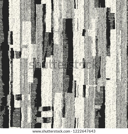 Monochrome Grained Textured Striped Distressed Background. Seamless Pattern.