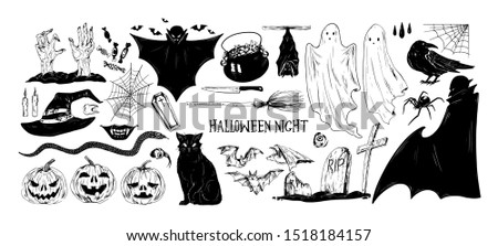 monochrome halloween set of
