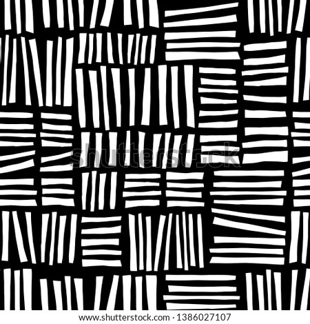 Monochrome hand drawn blocks seamless vector abstract background black and white
