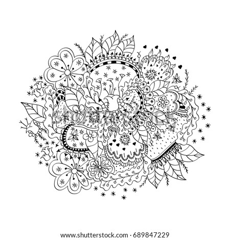 Monochrome hand drawn doodle ornament. unusual flowers, leaves, berries and abstract ornament for coloring book page design