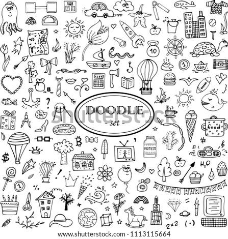 Monochrome hand-drawn doodle set for design. 139 elements. #1113115664