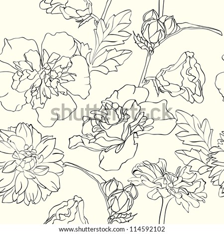 Monochrome Hand-drawn floral wallpaper, elegant design, seamless - stock vector