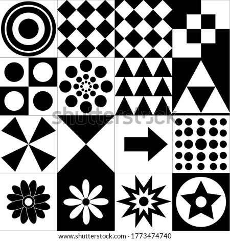 Monochrome High Contrast Black and White Stimulation Cards for Babies Montessori Play Black and White Cards Stockfoto ©