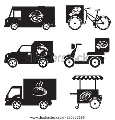 monochrome illustration of nine food transport icons
