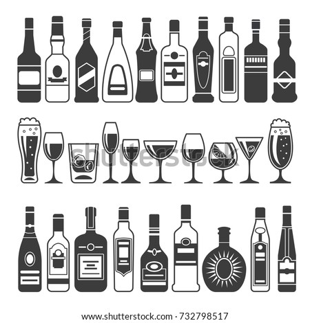 Monochrome illustrations of black pictures of alcoholic bottles. Vector for logo or label design. Alcohol bottle menu, drink cocktail glass