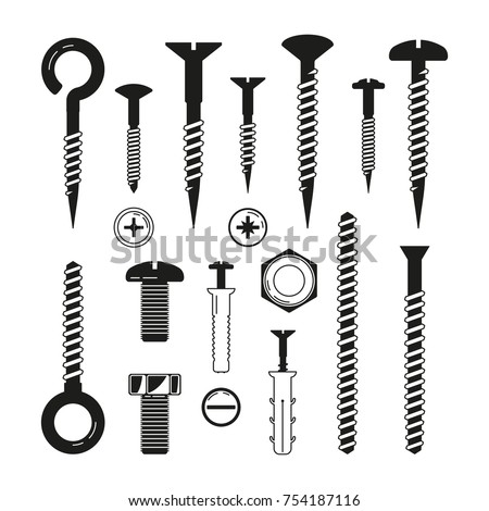 Monochrome illustrations of iron bolts, nuts, screws and others hardware tools. Vector bolt and nut, industrial hardware for fix construction