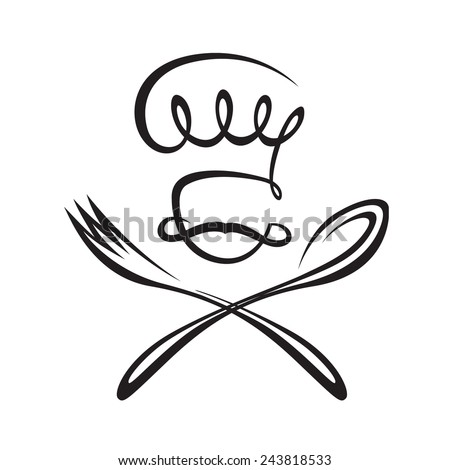 monochrome image of chef with spoon and fork