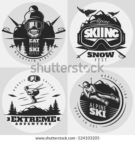 Monochrome isolated square composition with round emblems for extreme alpine skiing drawn in old school style vector illustration