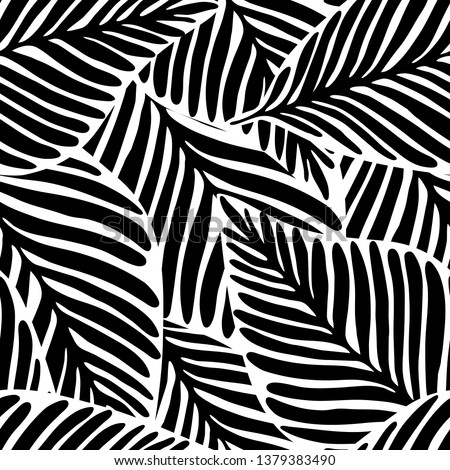 monochrome Jungle geometric seamless pattern. Exotic plant. Tropical pattern, palm leaves seamless vector floral background.