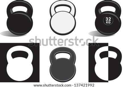 monochrome kettle bells on