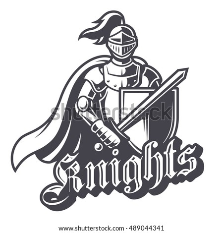 Stock Photo Monochrome knight sport logo on white background. Perfect for sport team mascot.