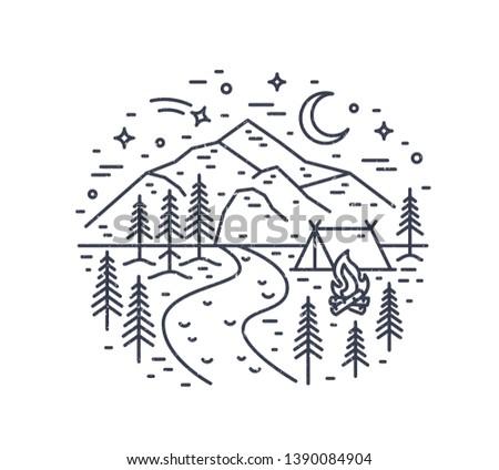 monochrome landscape with tent
