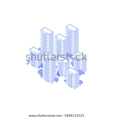 Monochrome line art isometric high-rise residential area illustration. big condo yard with trees around