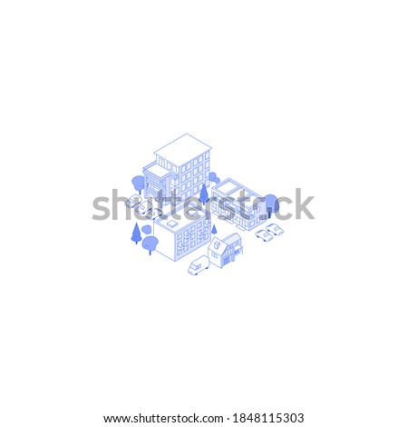 Monochrome line art isometric residential area illustration. Condo yard with trees and parking