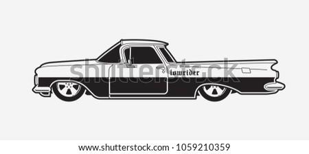 monochrome low rider car retro