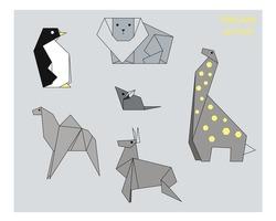 Monochrome origami animals on grey background