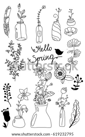 monochrome pattern of flowers in the vases with the inscription Hello spring on white background