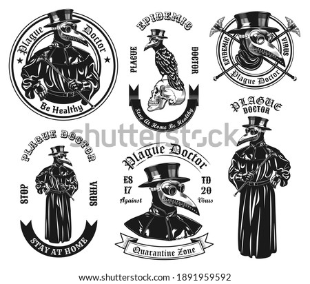 Monochrome plague doctor in costume vector illustration set. Vintage ancient physician in overcoat and mask with beak shaped nose. Medicine and pandemic concept can be used for stickers and badges Stockfoto ©